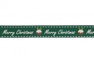 Berties Bows Grosgrain Ribbon - 16mm wide - Merry Christmas & Pud - White on Green (5m reel)