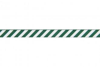 Berties Bows Grosgrain Ribbon - 9mm wide - Candy Stripe - White on Green (5m reel)