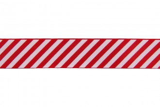 Berties Bows Grosgrain Ribbon - 22mm wide - Candy Stripe - White on Red (5m reel)