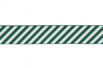 Berties Bows Grosgrain Ribbon - 22mm wide - Candy Stripe - White on Green (5m reel)