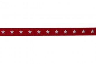 Berties Bows Grosgrain Ribbon - 9mm wide - Stars - White on Red (5m reel)