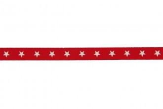 Berties Bows Grosgrain Ribbon - 9mm wide - Stars - Ivory on Red (5m reel)