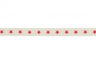 Berties Bows Grosgrain Ribbon - 9mm wide - Stars - Red on Ivory (5m reel)