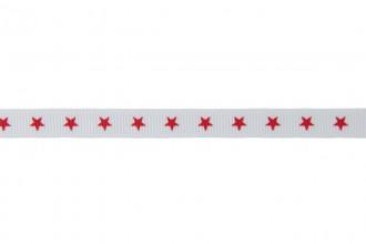 Berties Bows Grosgrain Ribbon - 9mm wide - Stars - Red on White (5m reel)