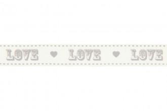 Berties Bows Grosgrain Ribbon - 16mm wide - Vintage Love - Grey on Ivory (5m reel)