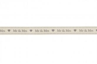 Berties Bows Grosgrain Ribbon - 16mm wide - Mr & Mrs - Ivory (5m reel)