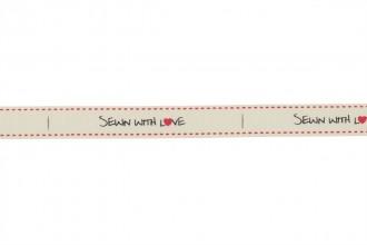 Berties Bows Grosgrain Ribbon - 16mm wide - Sewn with Love - Ivory (5m reel)
