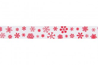 Berties Bows Grosgrain Ribbon - 16mm wide - Snowflakes - Red on White (5m reel)