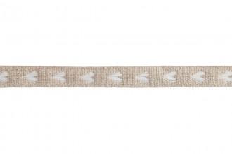 Berties Bows Linen Ribbon - 11mm wide - White Woven Heart - Natural (5m reel)