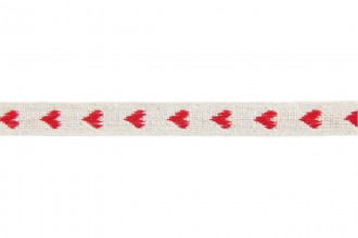 Berties Bows Linen Ribbon - 11mm wide - Red Woven Heart - Natural (3m reel)