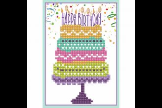 Diamond Dotz - Greeting Card - Happy Birthday Cake (Diamond Painting Kit)