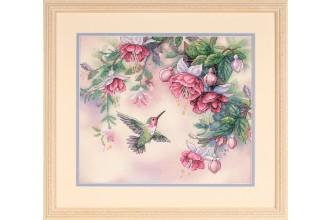 Dimensions - Stamped Hummingbird & Fuchsias (Cross Stitch Kit)