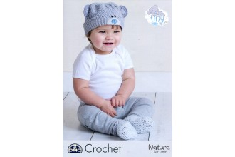 DMC 15430L/2 Tiny Tatty Teddy Crochet Baby Beanie Hat and Booties (Leaflet)