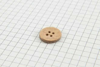 Drops Round Button, Coconut Shell, 15mm