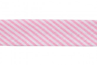 Bias Binding - Cotton - 20mm wide - Pink Stripes (per metre)