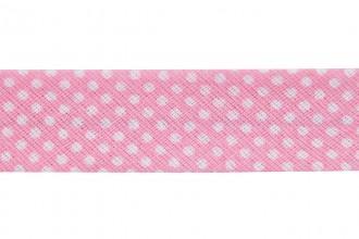 Bias Binding - Cotton - 20mm wide - Pink Spots (per metre)