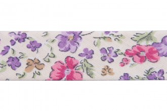 Bias Binding - Cotton - 20mm wide - Ditsy Floral Lilac Pink Cream (per metre)