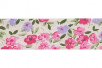 Bias Binding - Cotton - 20mm wide - Ditsy Floral Pink Green Lilac Cream (per metre)