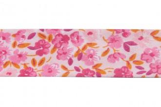 Bias Binding - Cotton - 20mm wide - Ditsy Floral Pink Orange Pink (per metre)