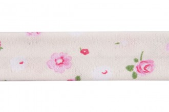 Bias Binding - Cotton - 20mm wide - Ditsy Floral Pink Green White Cream (per metre)