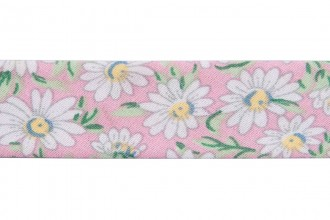 Bias Binding - Cotton - 20mm wide - Daisy Print on Pink (per metre)