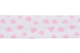 Bias Binding - Cotton - 20mm wide - Love Hearts Pale Pink (per metre)