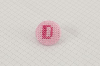 Cross Stitch Alphabet Button, Dark Pink on Light Pink, D, 25mm