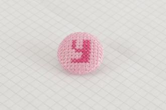 Cross Stitch Alphabet Button, Dark Pink on Light Pink, Y, 25mm