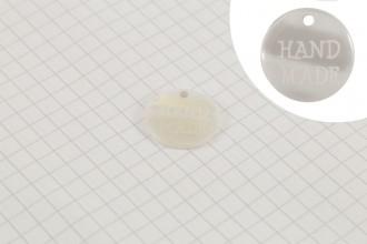 """Handmade"" Pearl Plastic Button Tag, White, 18mm"