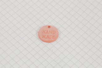 """""""Handmade"""" Pearl Plastic Button Tag, Pink, 18mm"""