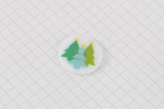 Christmas Tree Design, Round Plastic Button, 23mm