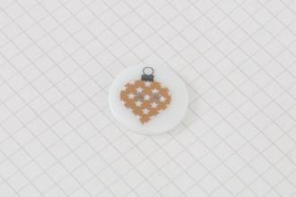 Christmas Bauble Design, Round Plastic Button, 23mm