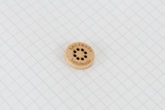 """""""Handmade"""" Wooden Button with Multi Hole Centre, Round, 15mm"""