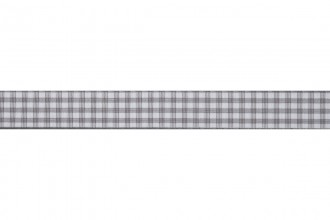 Bowtique Gingham Ribbon - 15mm wide - Grey (5m reel)