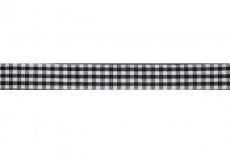 Bowtique Gingham Ribbon - 15mm wide - Black (5m reel)