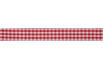 Bowtique Gingham Ribbon - 15mm wide - Red (5m reel)