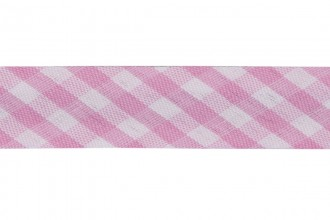 Bias Binding - 15mm wide - Pink Gingham (per metre)