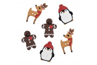 Christmas Buttons - Assorted Designs - Pack of 6