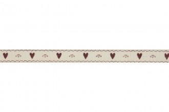 Bowtique Grosgrain Ribbon - 10mm wide - Hearts & Kisses - Red (5m reel)