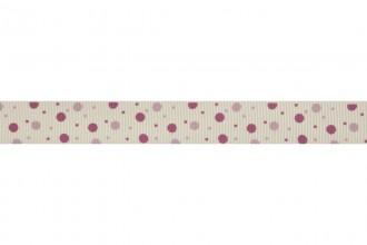 Bowtique Grosgrain Ribbon - 15mm wide - Spots & Dots  - Pink (5m reel)