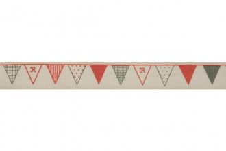 Bowtique Natural Cotton Ribbon - 15mm wide - Bunting - Red / Navy (5m reel)