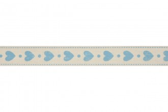 Bowtique Natural Cotton Ribbon - 15mm wide - Hearts - Blue (5m reel)