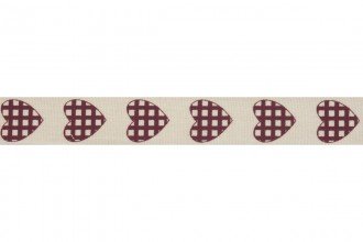 Bowtique Natural Cotton Ribbon - 15mm wide - Check Heart - Dark Red (5m reel)