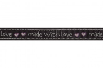 Bowtique Grosgrain Ribbon - 15mm wide - Made With Love - Black (5m reel)