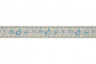 Bowtique Natural Cotton Ribbon - 15mm wide - Birds & Gifts - Blue (5m reel)