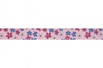 Bowtique Grosgrain Ribbon - 15mm wide - Flowers - Light Pink (5m reel)