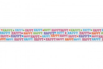 Bowtique Satin Ribbon - 15mm wide - Happy Happy - Mixed (5m reel)