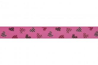 Bowtique Grosgrain Ribbon - 15mm wide - Hearts - Pink (5m reel)