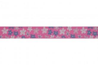 Bowtique Grosgrain Ribbon - 15mm wide - Flowers - Pink (5m reel)