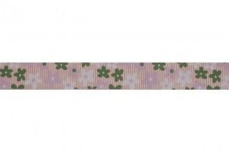 Bowtique Grosgrain Ribbon - 15mm wide - Flowers - Pink / Green (5m reel)
